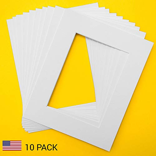 0 mats for 5x7 Pictures by Verita Vision. Includes 10 Premium Acid-Free White Core Bevel Cut 5x7 Matte for 8x10 Frame, Matte for 5x7 Photo (White) ()