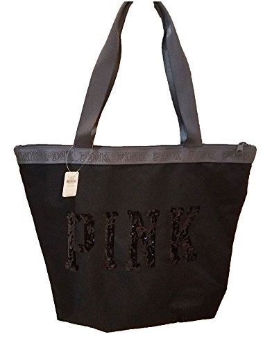 Victoria's Secret PINK Bling Sequin Zipper Tote Bag Black