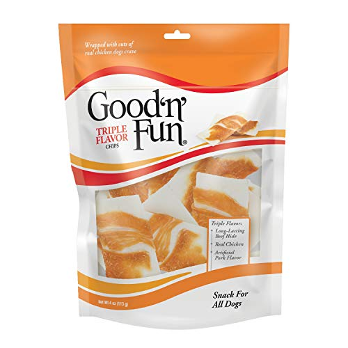- Good'n'Fun Triple Flavor Rawhide Chips with Real Chicken, 4 Oz