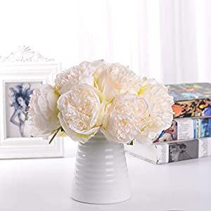Lvydec Vintage Peony Artificial Flowers - 2 Pack Silk Peony Bouquet with 10 Flower Heads for Wedding Home Decoration (Cream White) 74