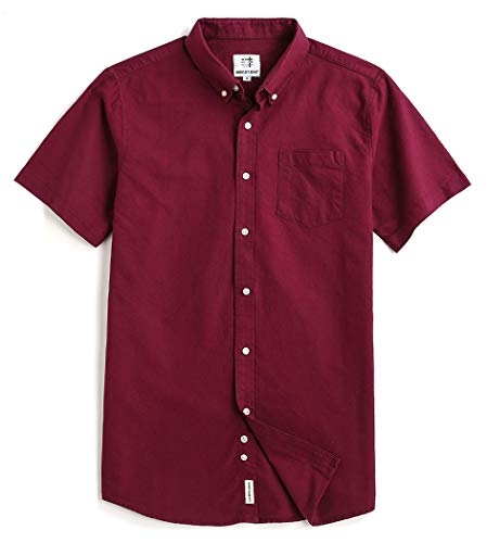 Sports Shirt Down Oxford Button - Mocotono Men's Short Sleeve Oxford Button Down Casual Shirt, Maroon, Large