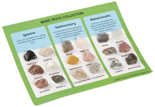 American Educational 18 Piece Basic Rock Collection Kit, 5-1/2