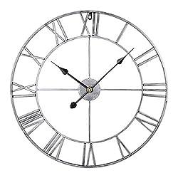 Goshfun Vintage Wall Clock, 3D Roman Numerals Silent Wall Clock Large Metal Decorative Clock for Living Room Kitchen Bedroom, 16-Inch, Retro Silver