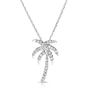 NATALIA DRAKE 1/4 Cttw Genuine Diamond Palm Tree Pendant in Sterling Silver