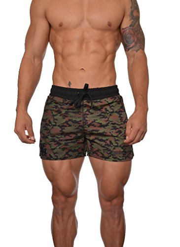 YoungLA Men's Bodybuilding Lift Shorts (XXL, Camo Green)
