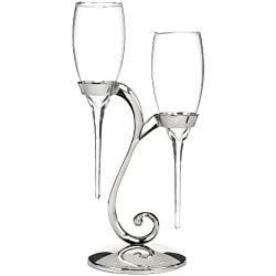 Hortense B. Hewitt Raindrop Toasting Flutes with Swirl Stand Wedding Accessories