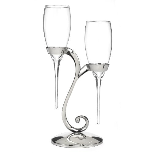 Hortense B. Hewitt Raindrop Toasting Flutes with Swirl Stand Wedding Accessories (Wedding Toasting Flutes)