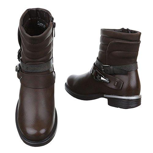 Ital-Design - botas estilo motero Mujer marrón