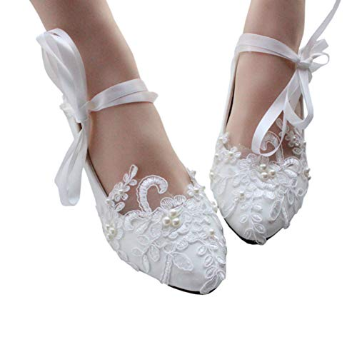 (Dress First Women's Strap Wedding Flat Bridal Shoes Low Heel Flats with Imitation Pearl White, 7)