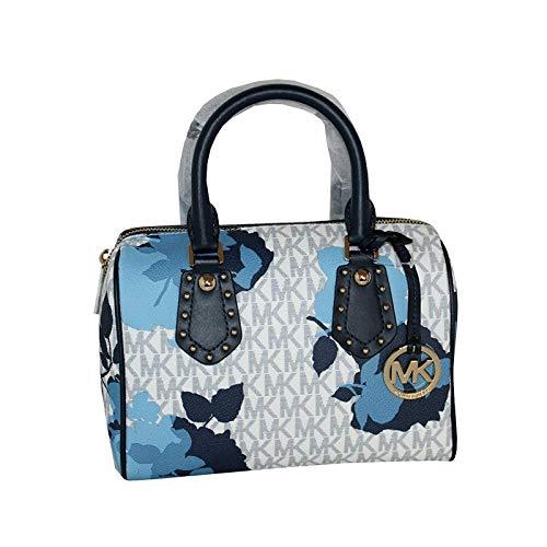MICHAEL Michael Kors Women's ARIA Small Leather Satchel Studded Handbag (Navy) ()