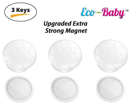 Universal Magnetic Safety Lock Key Replacements for Most Baby & Child Proof Cabinet & Drawer Locks by Ecobaby – Pack of 3 Magnetic Keys with 3 Adhesive Key Holders - Extra Strong & Reliable