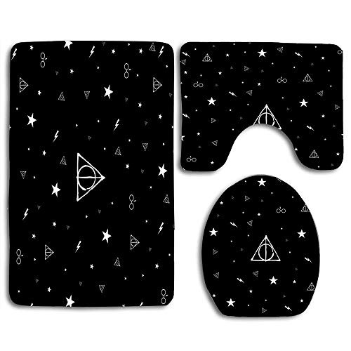 NEWcoco Toilet Seat U Shape Cover Bath Mat Lid Cover for Bathroom Harry Potter Black ()