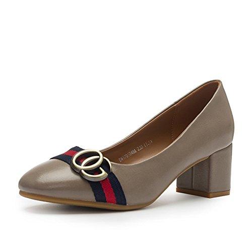 Damen High Heels?Thick Heel Square Cap Foot Schuhe-B Fußlänge=22.3CM(8.8Inch)
