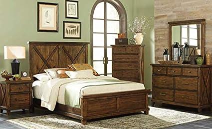 Amazon.com: Hacienda Queen Rustic Bedroom Set. Barn Style ...