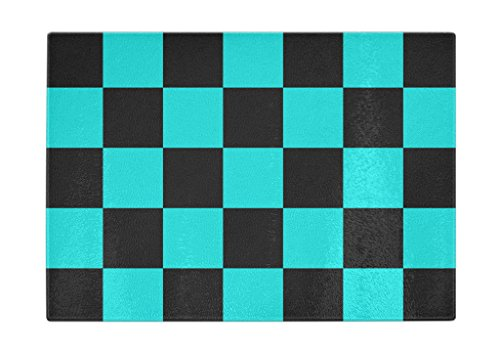 Tempered Glass Cutting Board for Kitchen Turquoise Black Squ