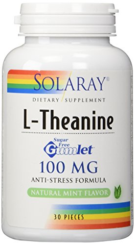 Solaray L-Theanine Mint Gumlet Supplement, 100 mg, 30 Count