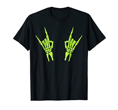 Green Skeleton Rock Hands Funny Halloween T-Shirt -