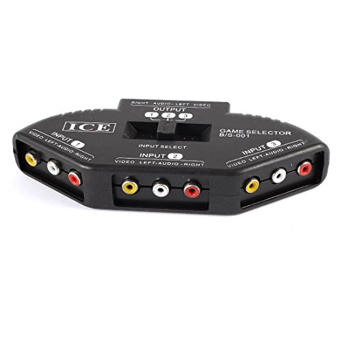 Di Box Splitter (uxcell Black 3 Way Port Splitter RCA Audio Video AV Switch Box Game Selector)