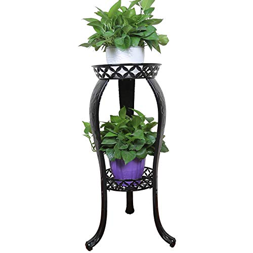 Iron Top Scroll - Metal Potted Plant Stand, 32inch Rustproof Decorative Flower Pot Rack with Indoor Outdoor Iron Art Planter Holders Garden Steel Pots Containers Supports Corner Display Stand