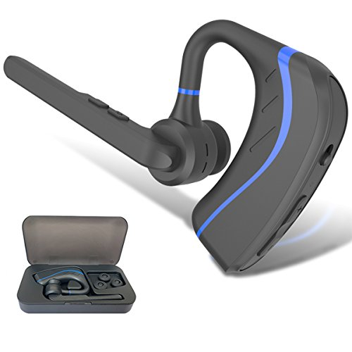 Bluetooth Headset Wireless Earpiece - Ultralight Wireless Bluetooth headset in Earbuds V4.1 w/Mic Noise Cancelling for Business/Office/Driving, Compatible with iPhone, Android Smartphones (Blue)