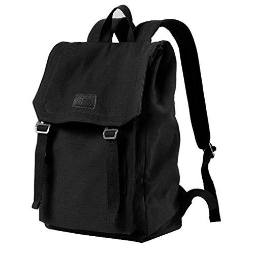 Black Rinse Apparel - Retro Backpack, COOFIT Canvas Laptop Backpack Mens Travel Backpack Vintage Backpack for Men