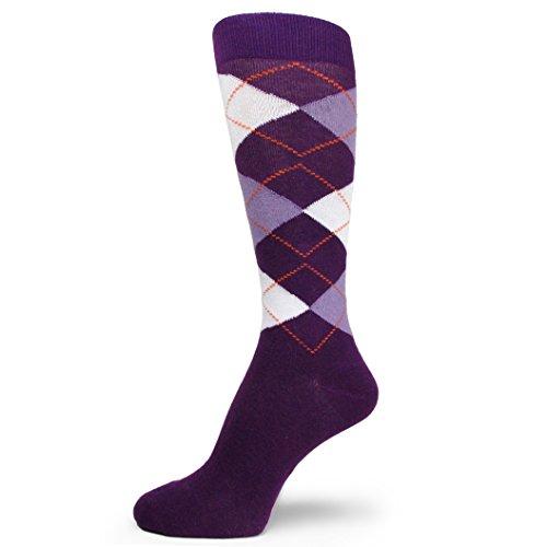Purple Mens Socks - Spotlight Hosiery Men's Argyle Dress Socks-Purple/Lavender/White