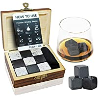 EFG WS01 Vivo Whiskey Stones Gift Set-9 Granite Chilling Whisky Rocks-no Water Dilution-stored in Wooden Premium Box – Best Quality, Wood
