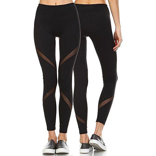 CROSS1946 Sexy Women's Striped Mesh Yoga Pants Leggings Soft Stretch Trousers Fitness Tights Gym Running S