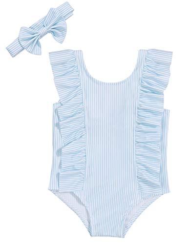 Baby Girl Bikini Striped Beach Swimsuit Ruffles Bathing Suit Swimwear+Headband 2 Pcs Set(90/6-12 ()