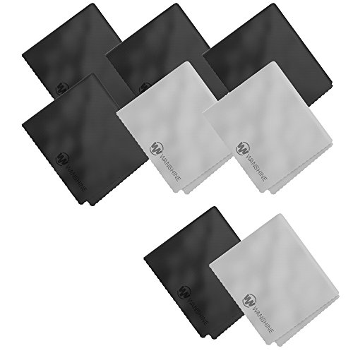 Microfiber Cleaning Cloths by Wanshine - for Computer Screen, Glasses, iPad, Smart Phones, Tablets, Lenses, Touch LCD TV Screens, and Other Delicate Surfaces- 6 Pack(4 Black and 2 Grey - Lenses Cyclops Contact