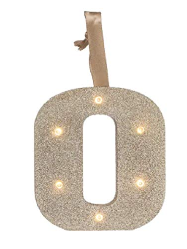 Gold Glitter Light UP Letters LED Marquee Wooden Alphabet Letter O Lights for Festival Decorative Decor Nursery, Party, Wedding, Prom (Wall or Table Top) Monogram Initial -