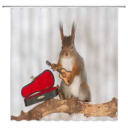 Cute Squirrel Holding Electric Guitar Decor Shower Curtain Instrument Box Wildlife Fallen Tree Winter Snow Scenery,70x70 Inch Waterproof Polyester Fabric Bathroom Accessories Curtains With Hooks