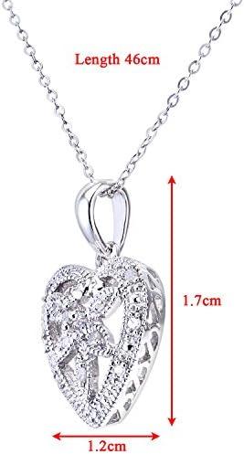 Naava Women's 9 ct White Gold Diamond Flower Heart Pendant + 46 cm Trace Chain Necklace