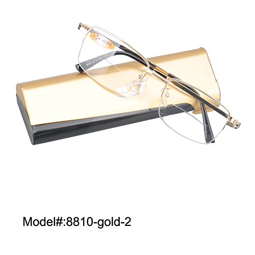 8810 Bifocal Clear Lens Reading Glasses Reader WITH Plano +100~+400 (gold, - Lenses Plano