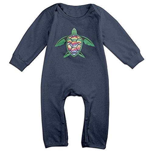 Mri-le1 Toddler Baby Boy Girl Long Sleeved Coveralls Tie Dye Turtle Infant Long Sleeve Romper Jumpsuit