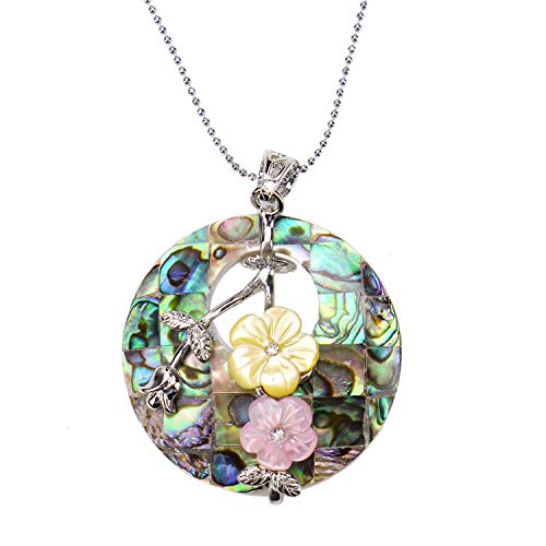 JETEHO Round Abalone Necklace for Women Sea Shell Flower Pendant Jewelry with Silver Bead Chain