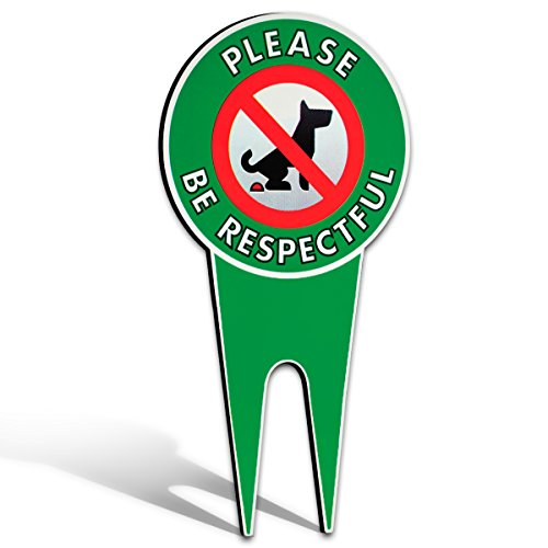 No Poop Dog Signs | Stop Dogs from Pooping On Your Lawn | Sign Politely Reads: Please Be Respectful | Protect Your Property! (No Poo) ()