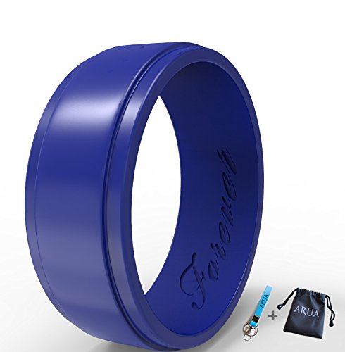 Silicone Wedding Ring for Men. Thin, Comfortable, Durable Rubber Wedding Bands. Gift Bag and Silicone Keychain Included. ()
