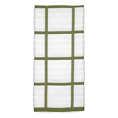All-Clad Textiles 100-Percent Combed Terry Loop Cotton Kitchen Towel, Oversized, Highly Absorbent and Anti-Microbial, 17-inch by 30-inch, Checked, Sage Green