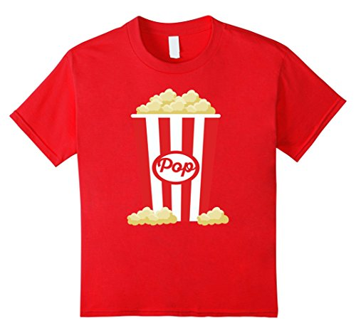 [Kids Popcorn - Funny Last Minute Halloween Costume T-Shirt 8 Red] (Last Minute Costume Ideas For Guys)