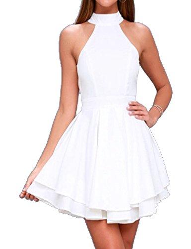 Halife Women's Scoop Neck Sleeveless Casual Swing T-Shirt Mini Dress White,XS