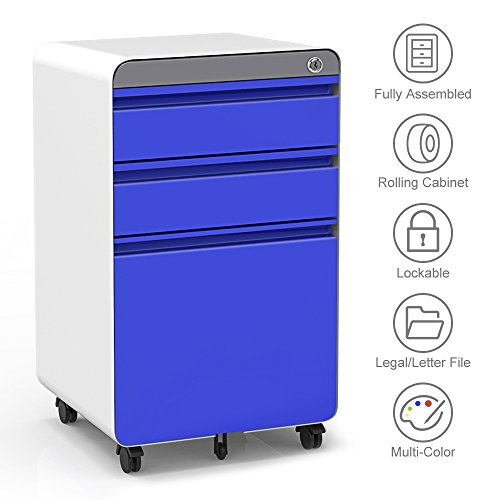 3-Drawer Filling Cabinet, Metal Vertical File Cabinet with Hanging File Frame for Legal & Letter File Install-Free Anti-tilt Design and Lockable System Office Rolling File -