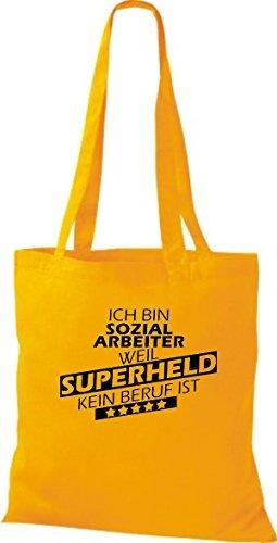 Shirtstown Bolso de tela Estoy Trabajador social, weil Superheld sin Trabajo ist amarillo