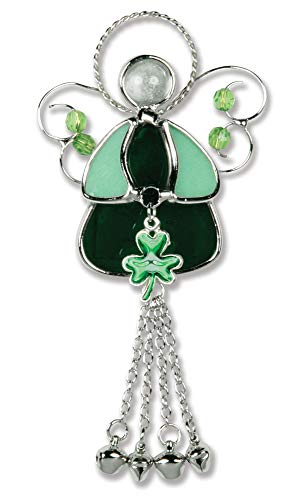 BANBERRY DESIGNS Irish Angel Sun Catcher - Green Stained Glass Design Suncatcher with Shamrock Charm - Silver Wire Wings and Bells - St. Patrick's Day Decoration