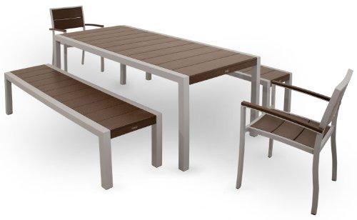 Trex Outdoor Furniture TXS122-1-11VL Surf City 5-Piece Bench Dining Set, Textured Silver/Vintage Lantern
