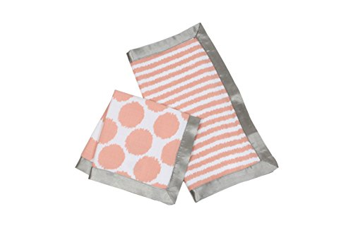 Bacati Ikat Muslin 2 Piece Security Blankets, Grey/Coral