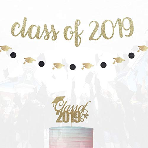 - GrantParty Gold Glittery Class of 2019 Graduation Cap Banner and Black Glittery Circle Dots and Gold Hats Garland and Gold Glitter Cake Topper Graduation or Grad Party Decoration Supplies