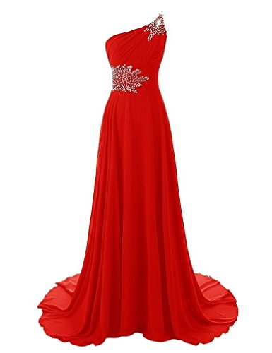 Snowskite Women's One Shoulder Long Chiffon Beading Bridesmaid Prom Dress Red 20