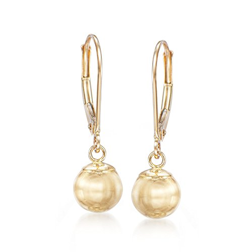 Ross-Simons 8mm 14kt Yellow Gold Shiny Bead Drop Earrings (14kt Dangle Earrings Jewelry Gold)
