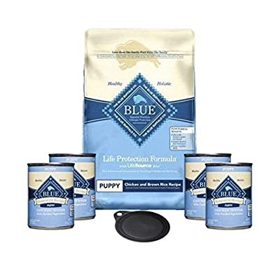 Blue Buffalo Puppy Food Formula-Life Protection Dry Dog Food Chicken and Brown Rice 6lb Bag & 4 Cans of Blue Buffalo Blue Homestyle Puppy Chicken Wet Dog Food 12.5 oz Each Plus 1 Lid Plus 1 Dog Toy &